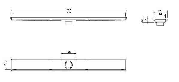 Ralo Linear Oculto de 80 cm Dimensoes para Instalacao