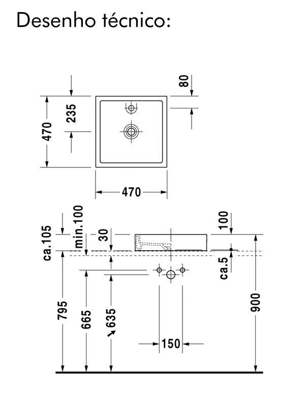 desenho tecnico cuba duravit quadrada