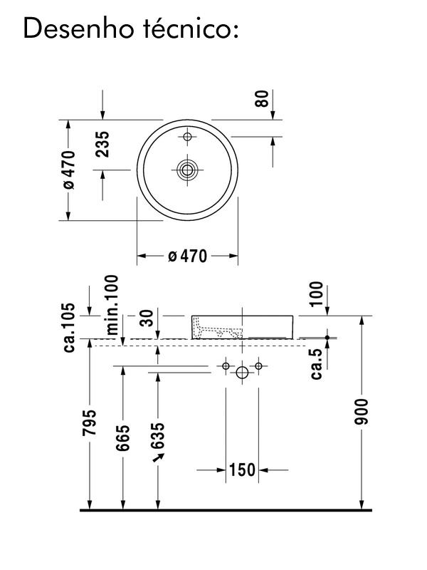 desenho tecnico cuba duravit redonda